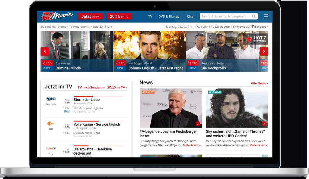 Web App Vorteile: Apple MacBook mit TV Movie Website